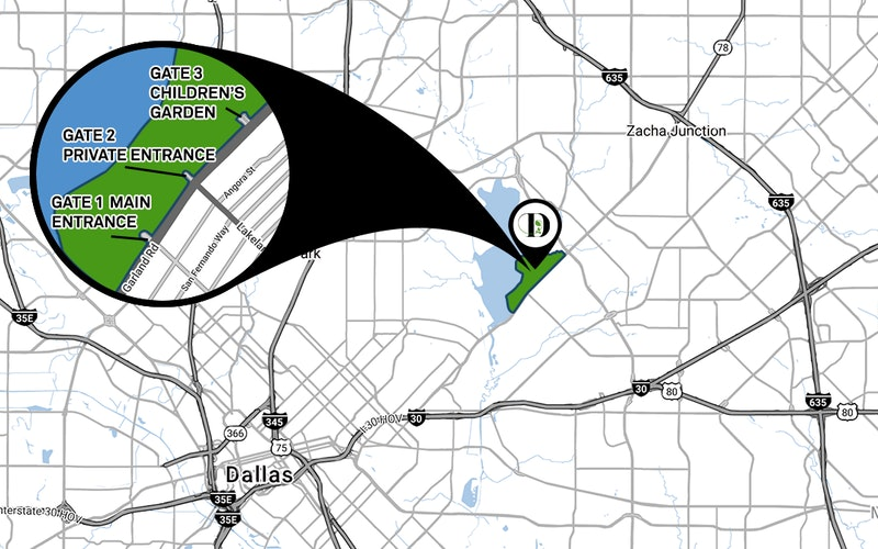 Directions and Parking | Dallas Arboretum and Botanical Garden on